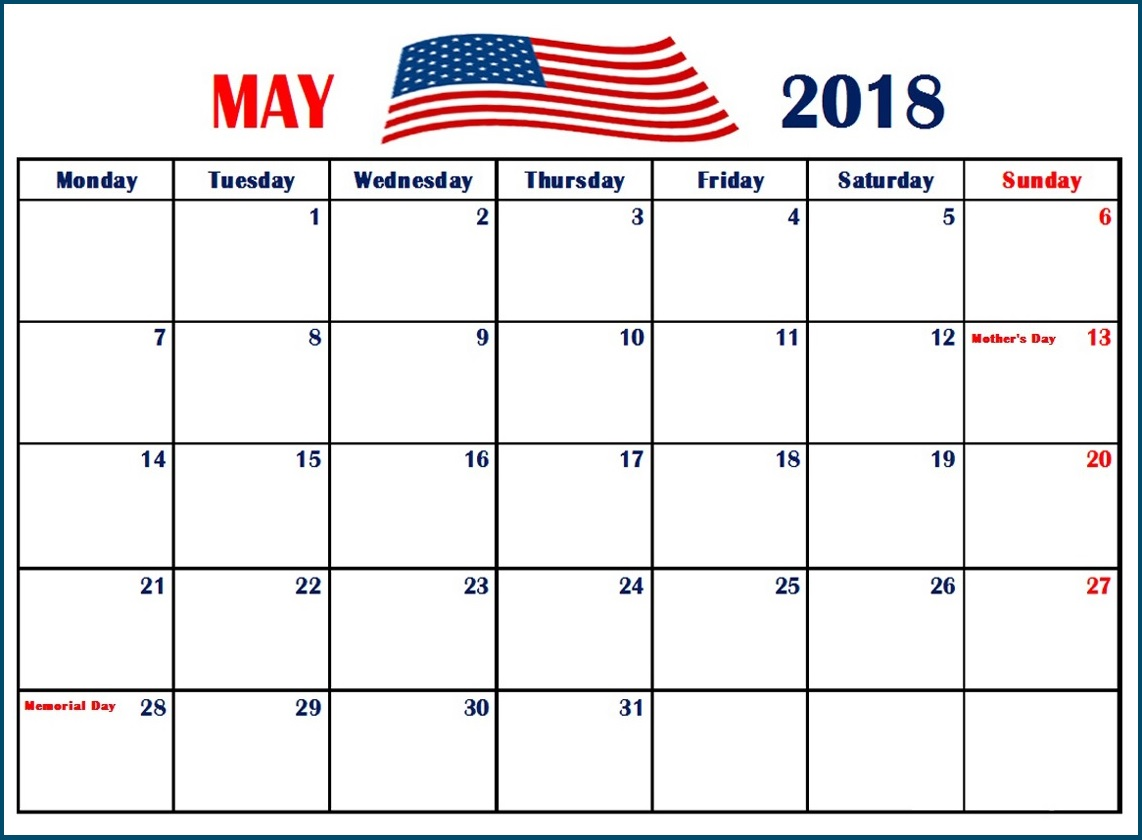 May 2018 Calendar With Holidays USA