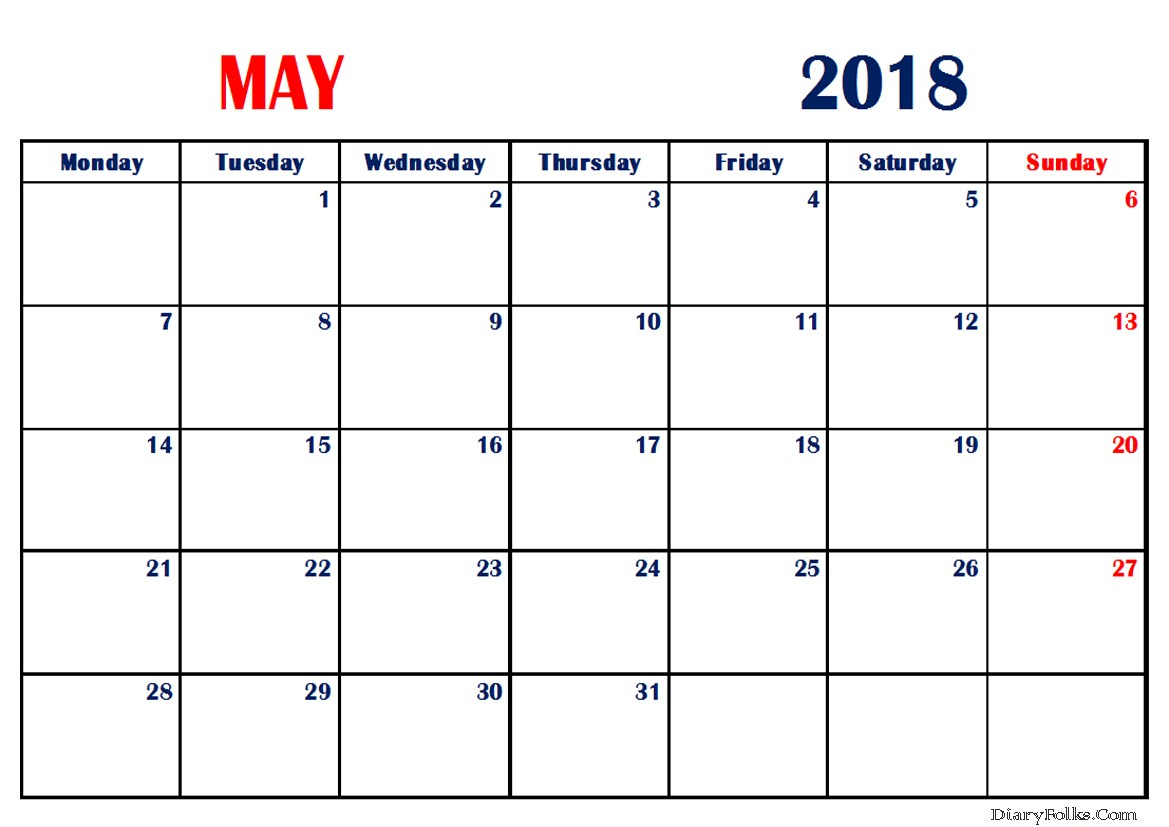 May 2018 Calendar Word Printable