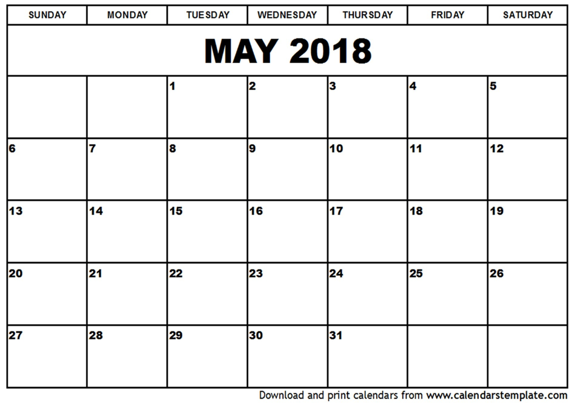 May 2018 Calendar Cute Calendar Template Word