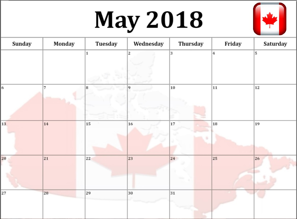May 2018 Calendar For Canada