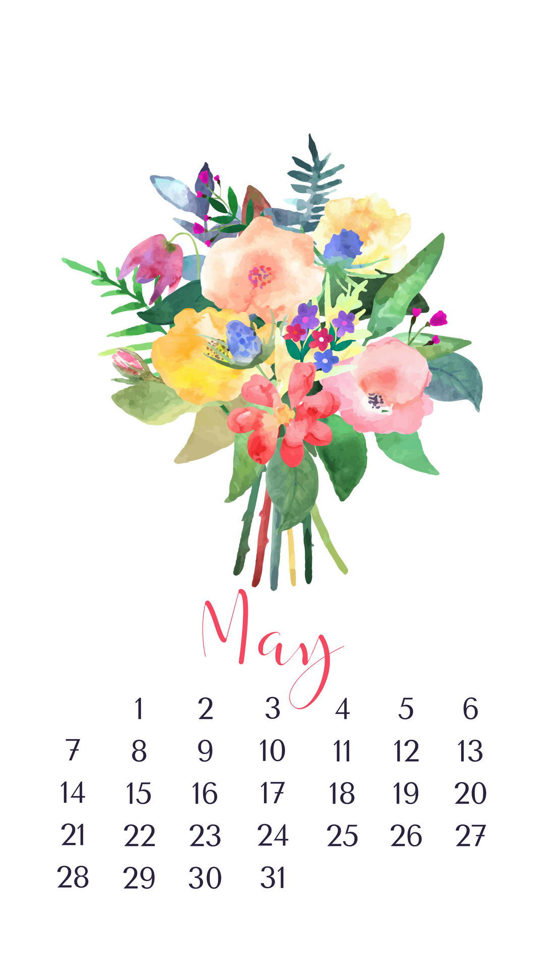 May 2018 Calendar for iPhone