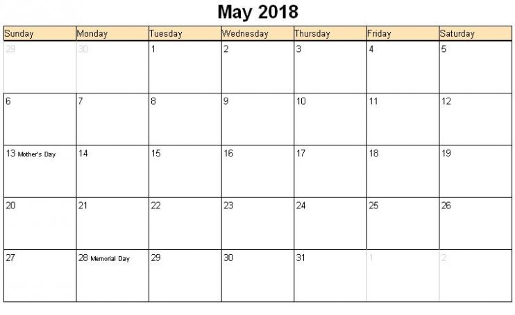 May 2018 Calendar in Excel Template