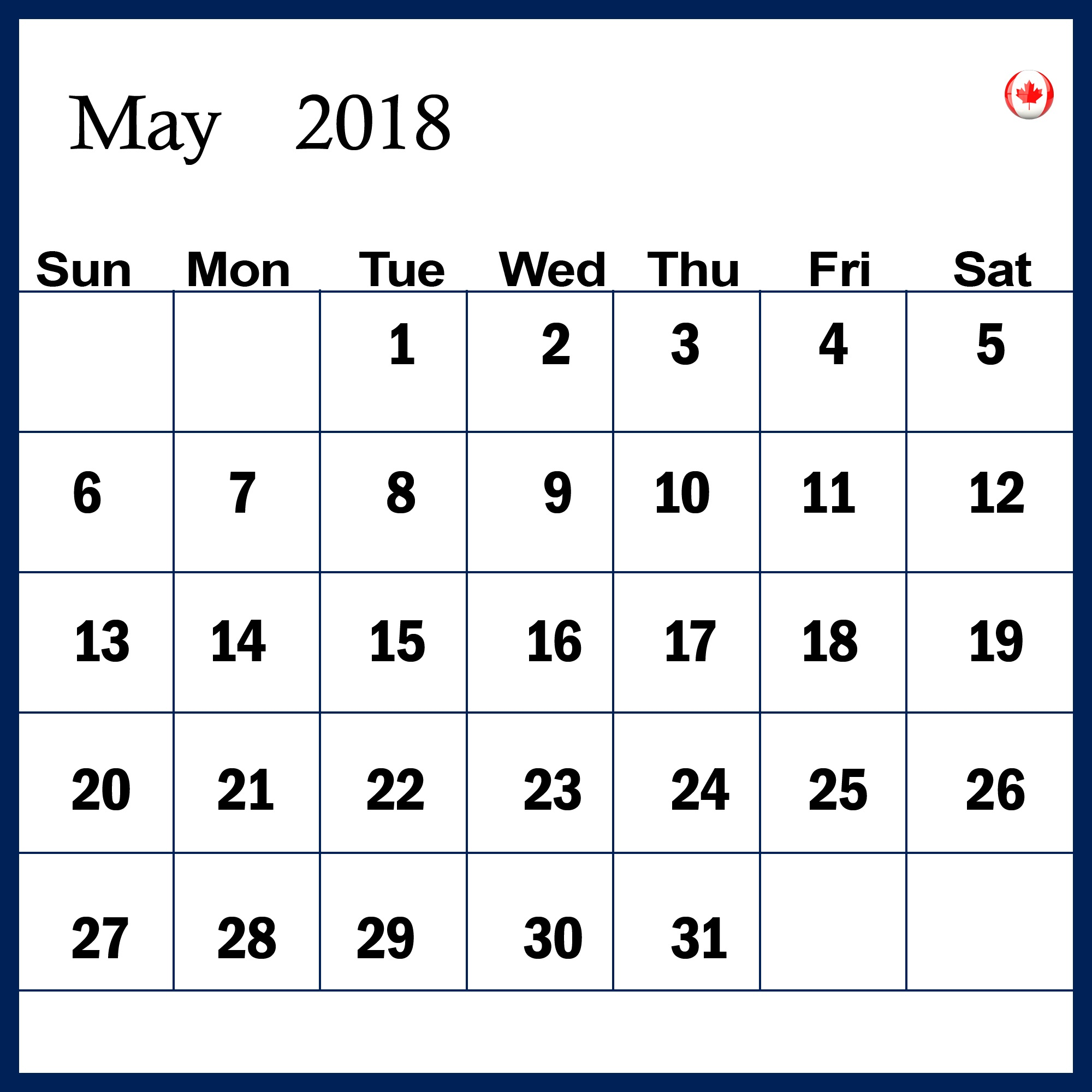May 2018 Calendar in Landscape