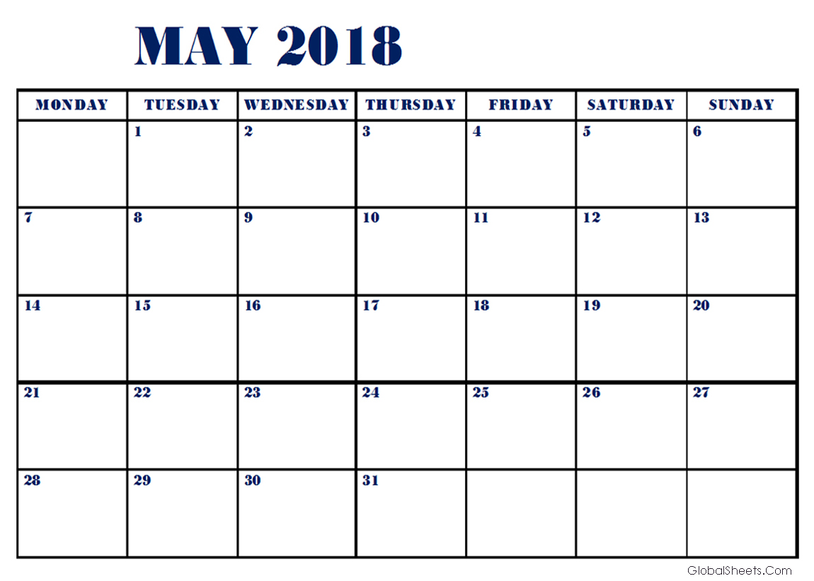 May 2018 Calendar in Vertical Template