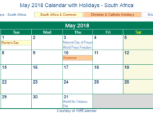May 2018 Calendar with Holidays - South Africa