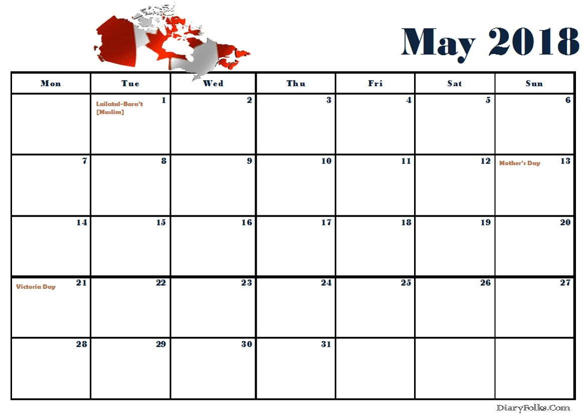 May 2018 Canada Calendar With Holidays
