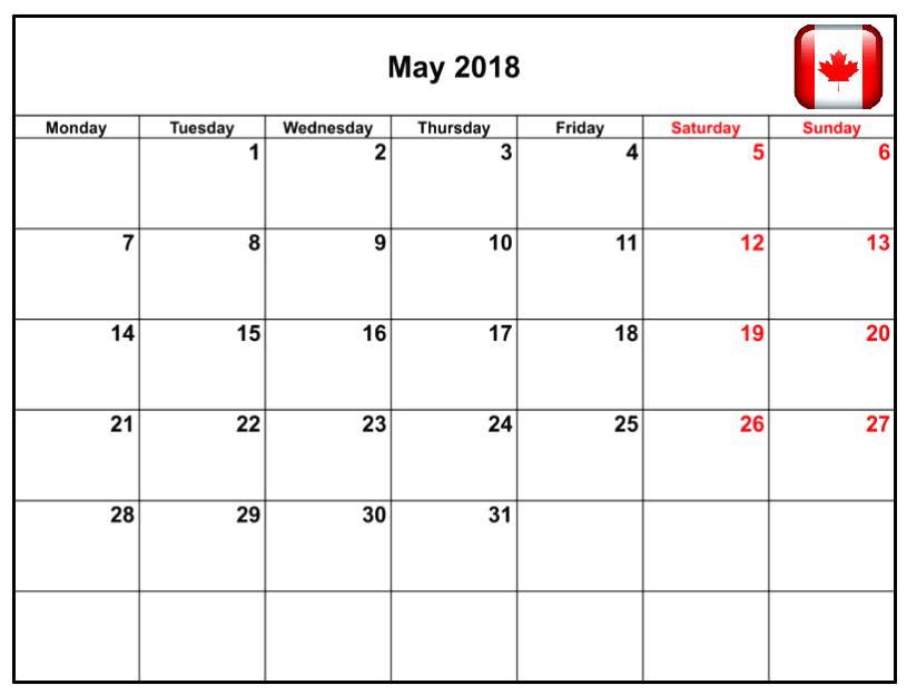 May 2018 Canadian Calendar with Holidays