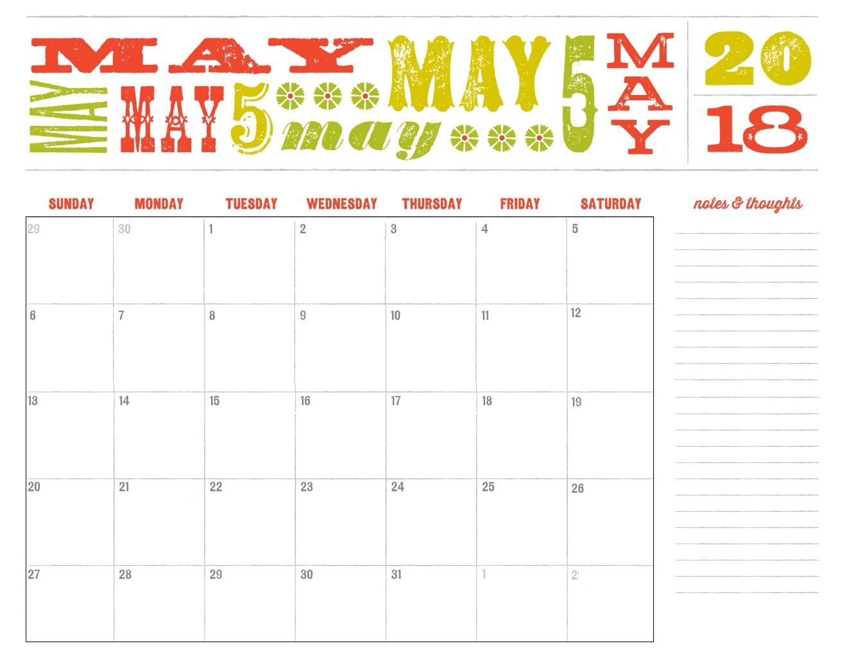 May 2018 Cute Calendar
