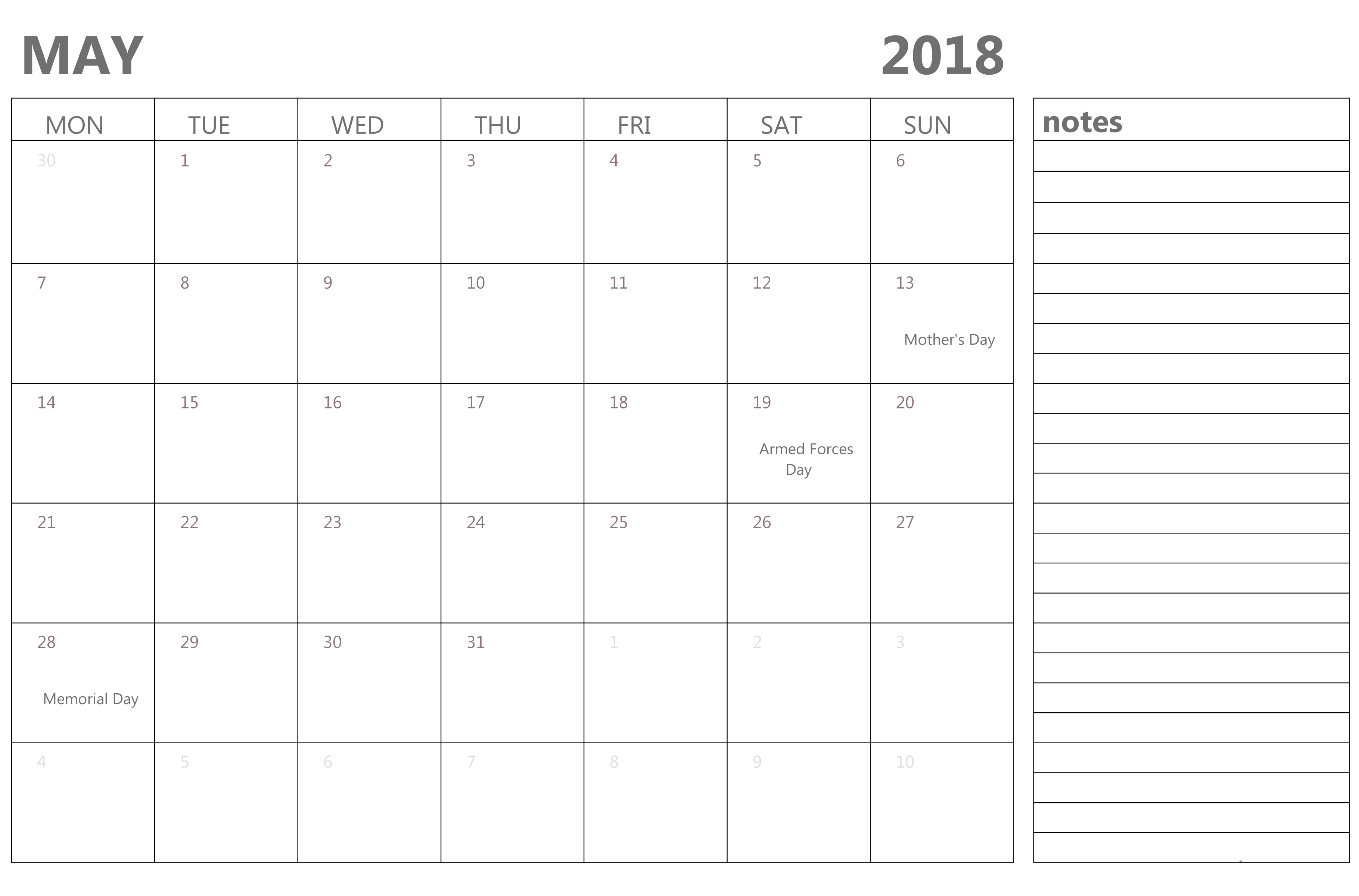 May 2018 Desk Calendar Landscape