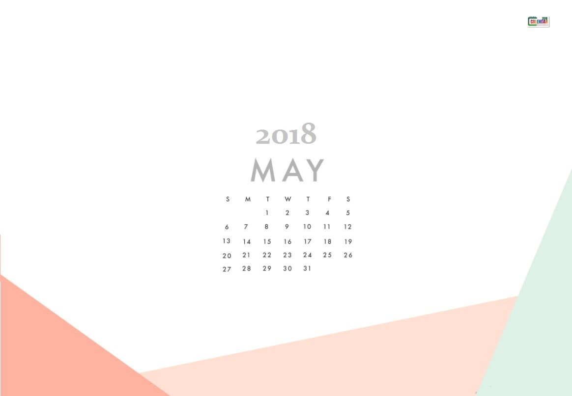 May 2018 Desktop Calendar for Background