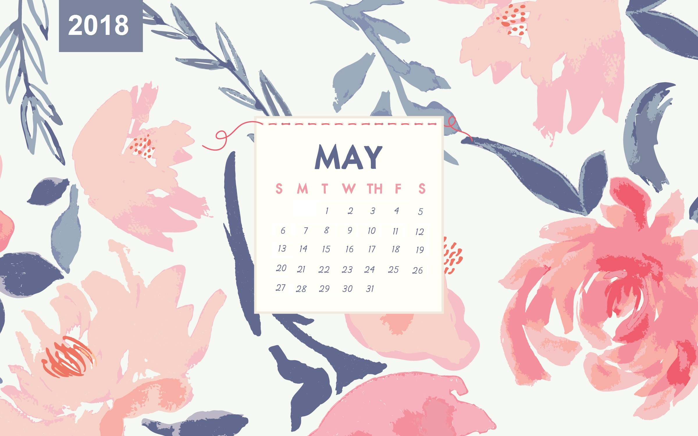 May 2018 Desktop Floral Calendar