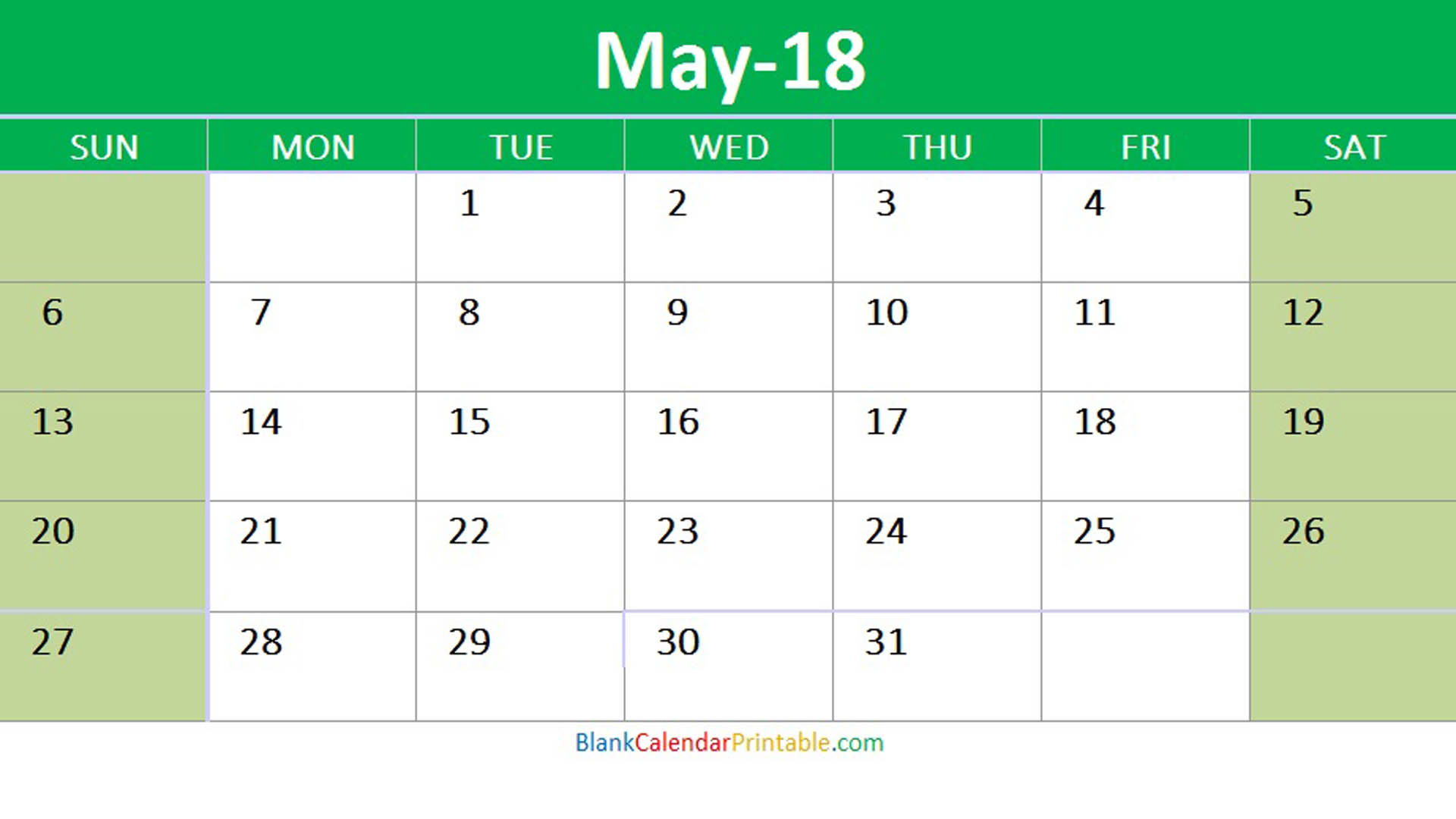 May 2018 Excel Blank Calendar