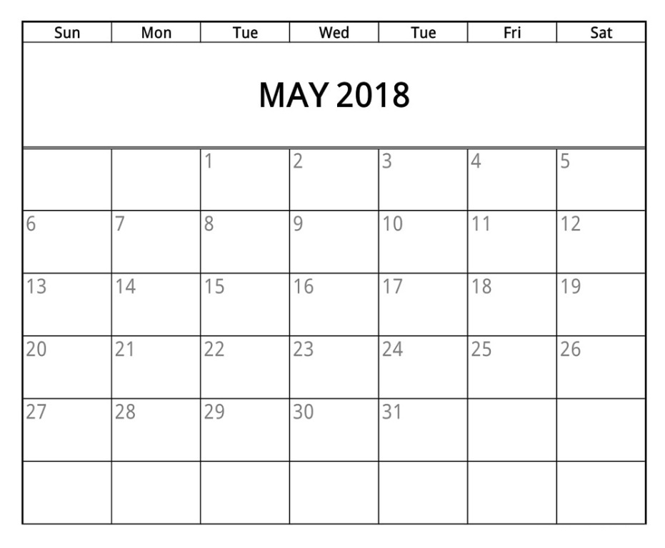 May 2018 Excel Calendar Template