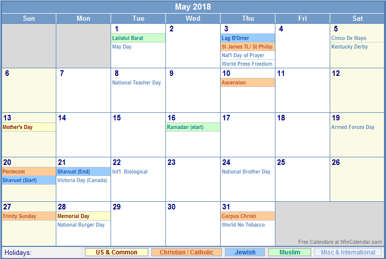 May 2018 Excel Calendar with Holidays