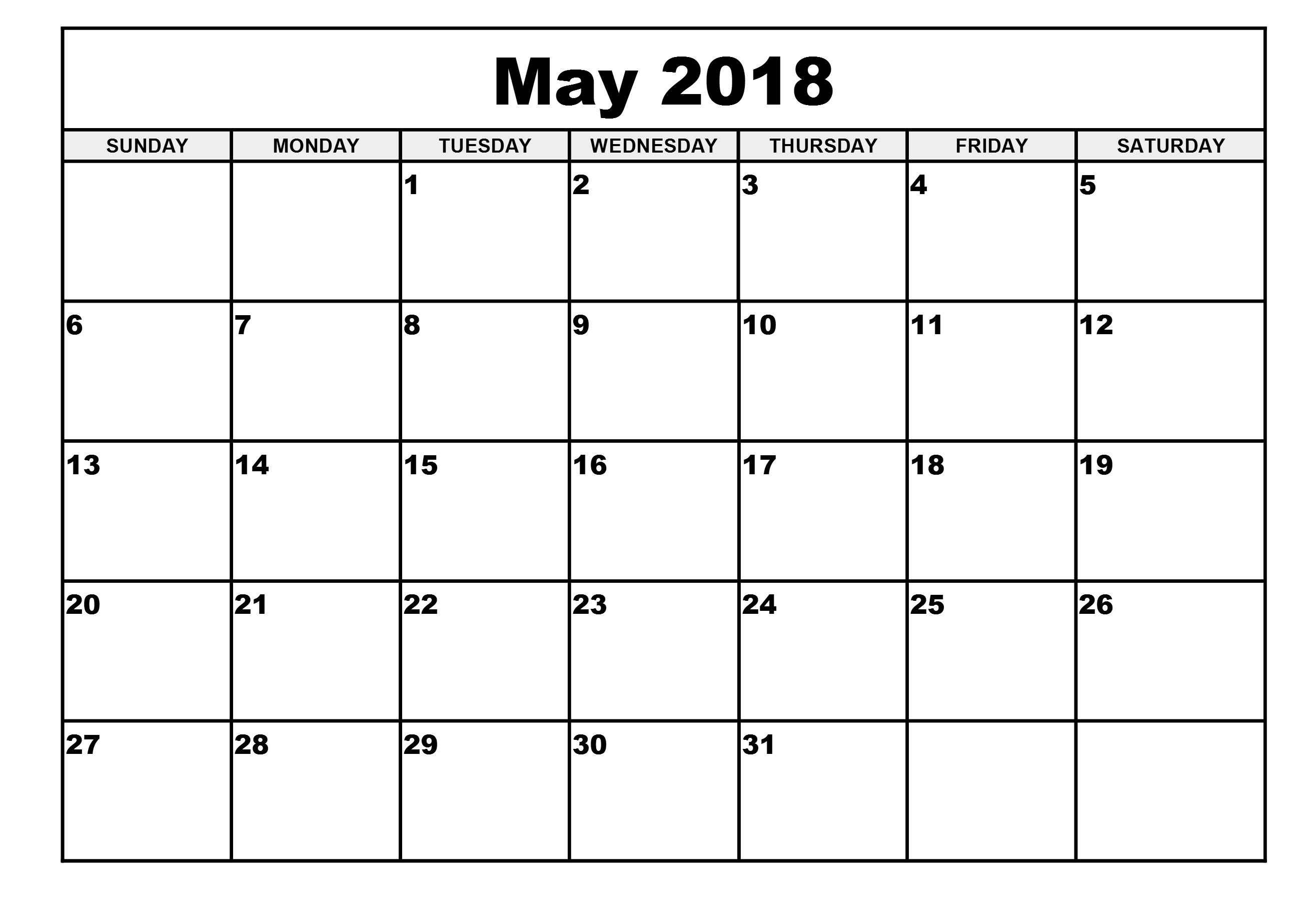 May 2018 Excel Calendar