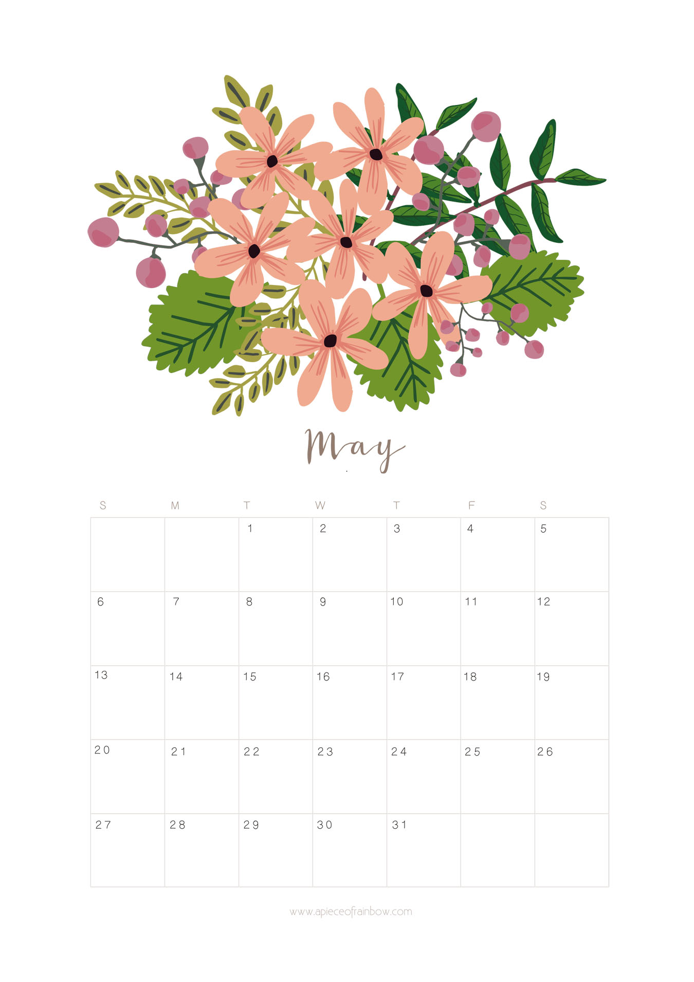 May 2018 Floral Calendar Page