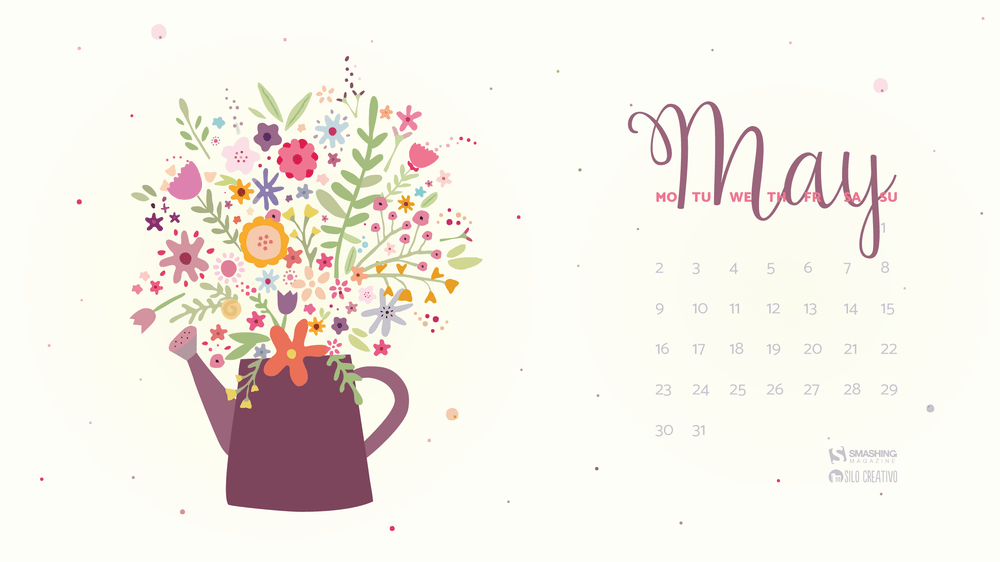 May 2018 Floral Calendar Wallpaper