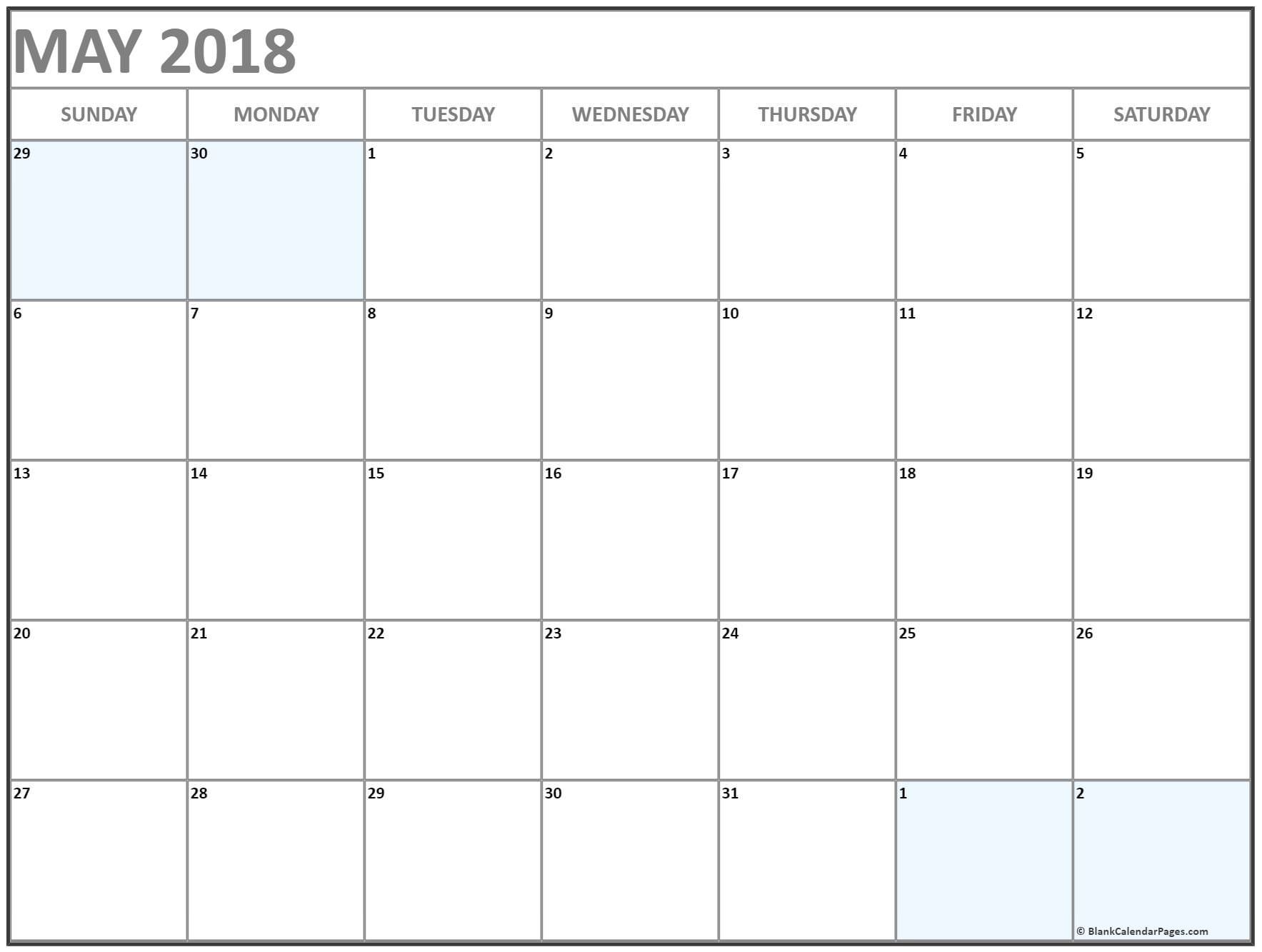 May 2018 Free Printable Blank Calendar