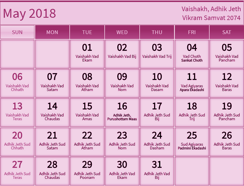 May 2018 Hindu Calendar with Tithi Pink
