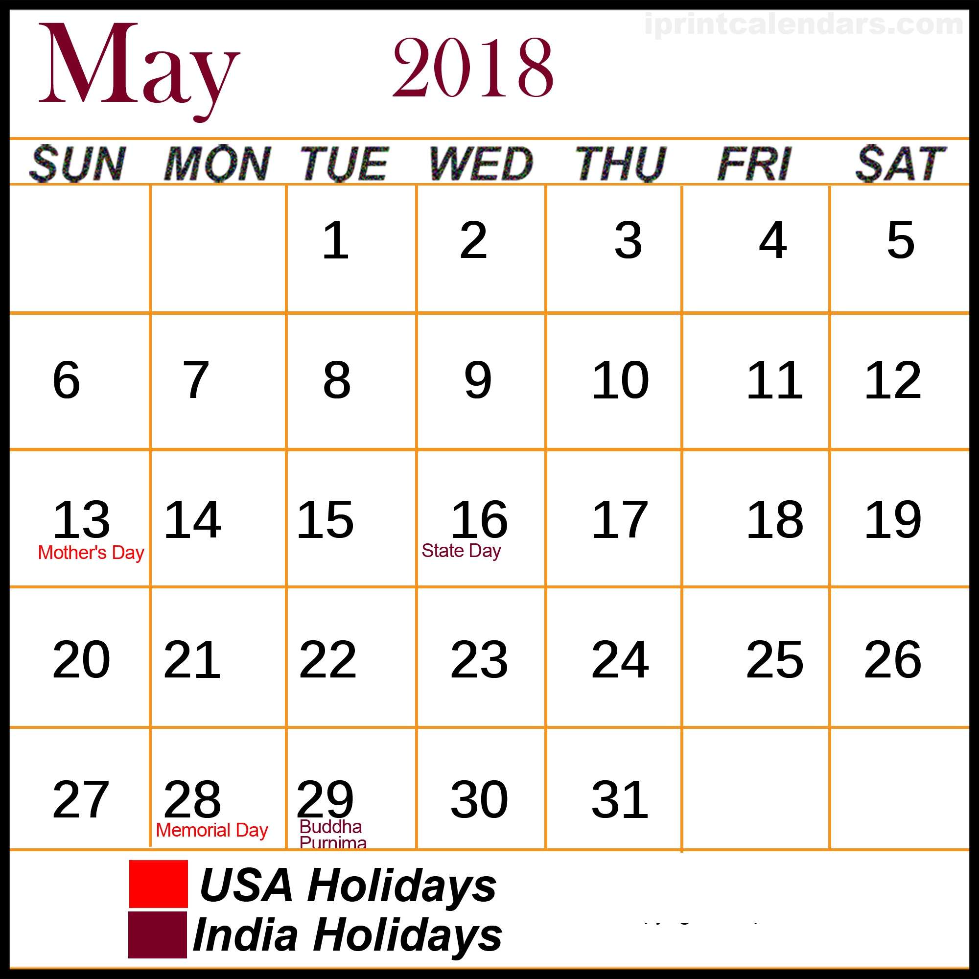 May 2018 Hindu Panchang Calendar with Tithi