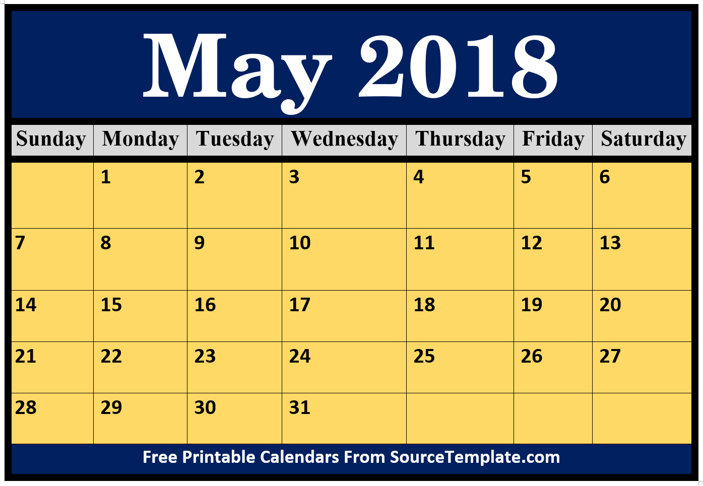 May 2018 Holidays Calendar USA