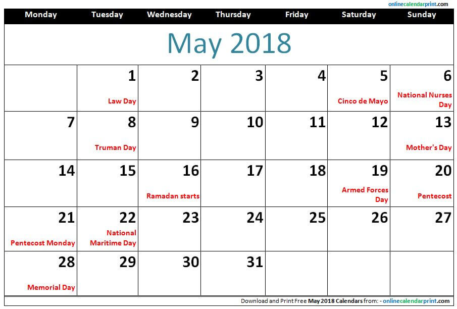 May 2018 Holidays