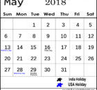 May 2018 India Calendar with Holidays