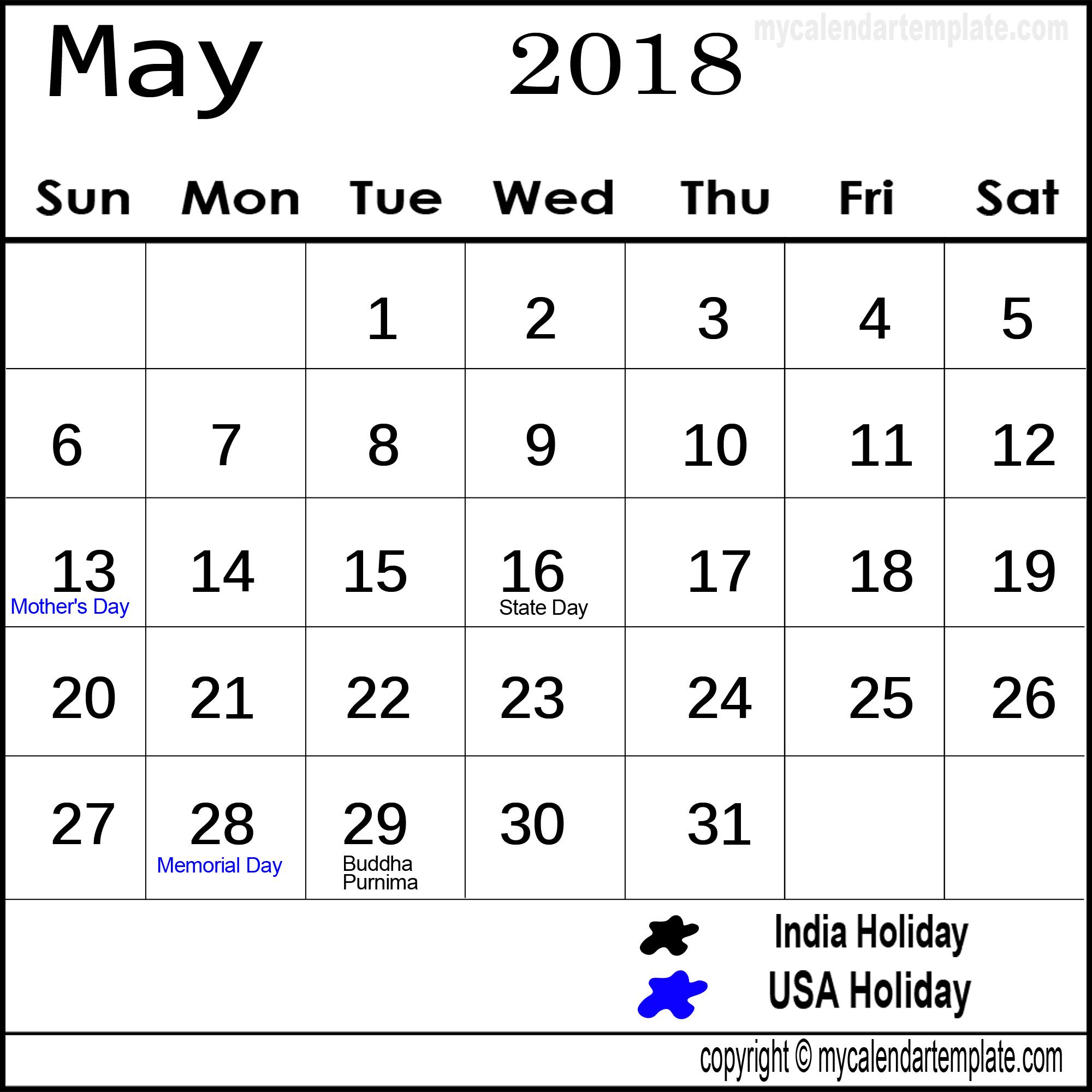 May 2018 India Calendar with Holidays