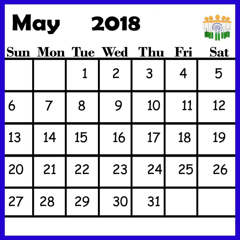 May 2018 Indian Calendar