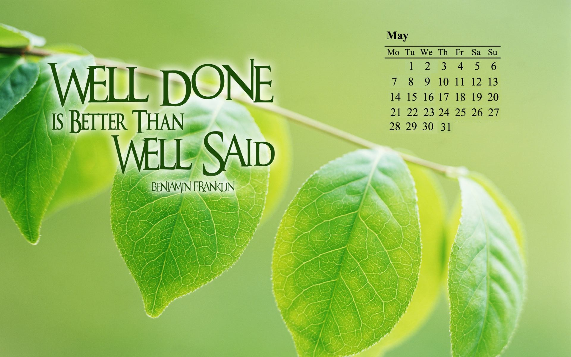 May 2018 Inspirational Desktop Calendar
