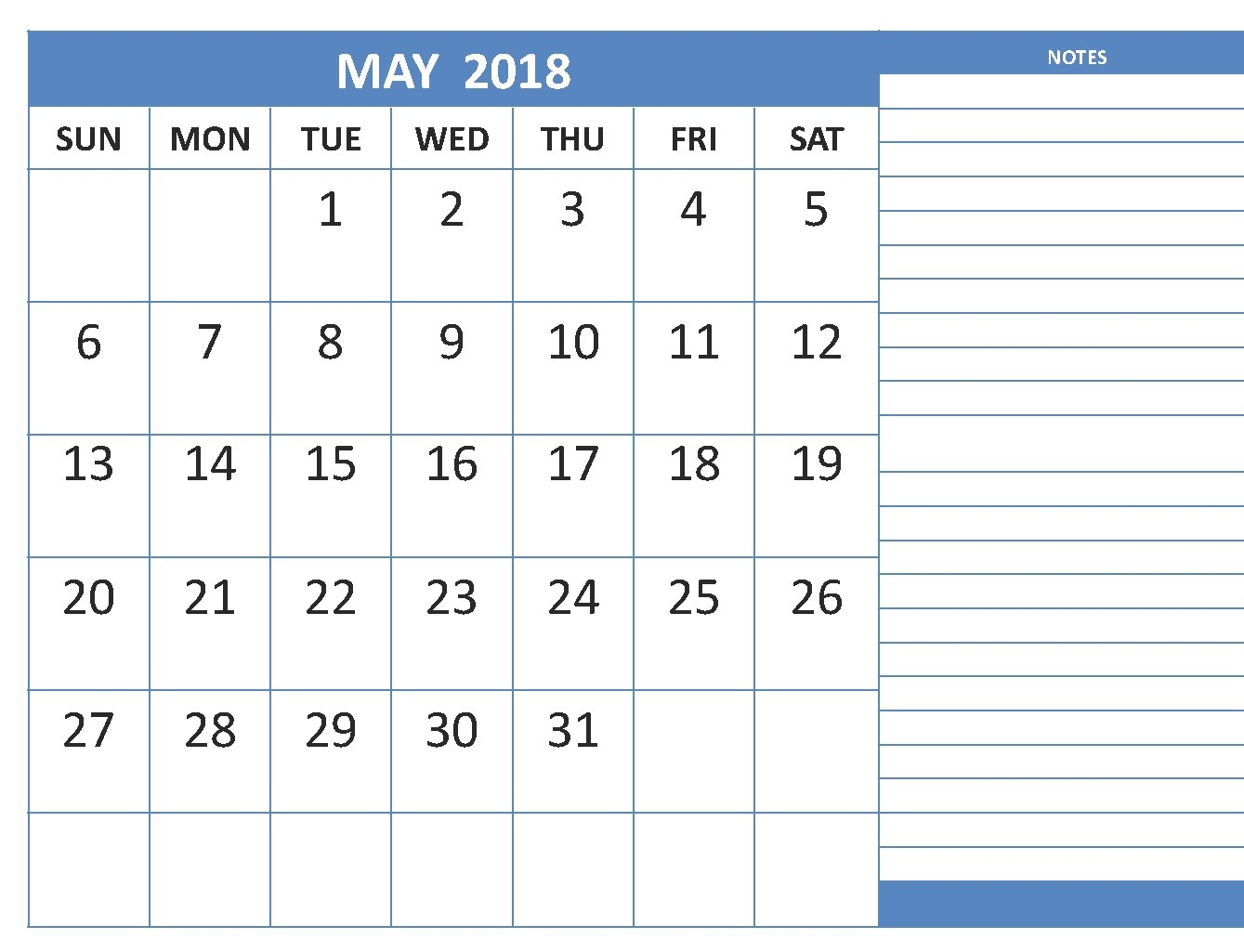 May 2018 Landscape Calendar with Notes