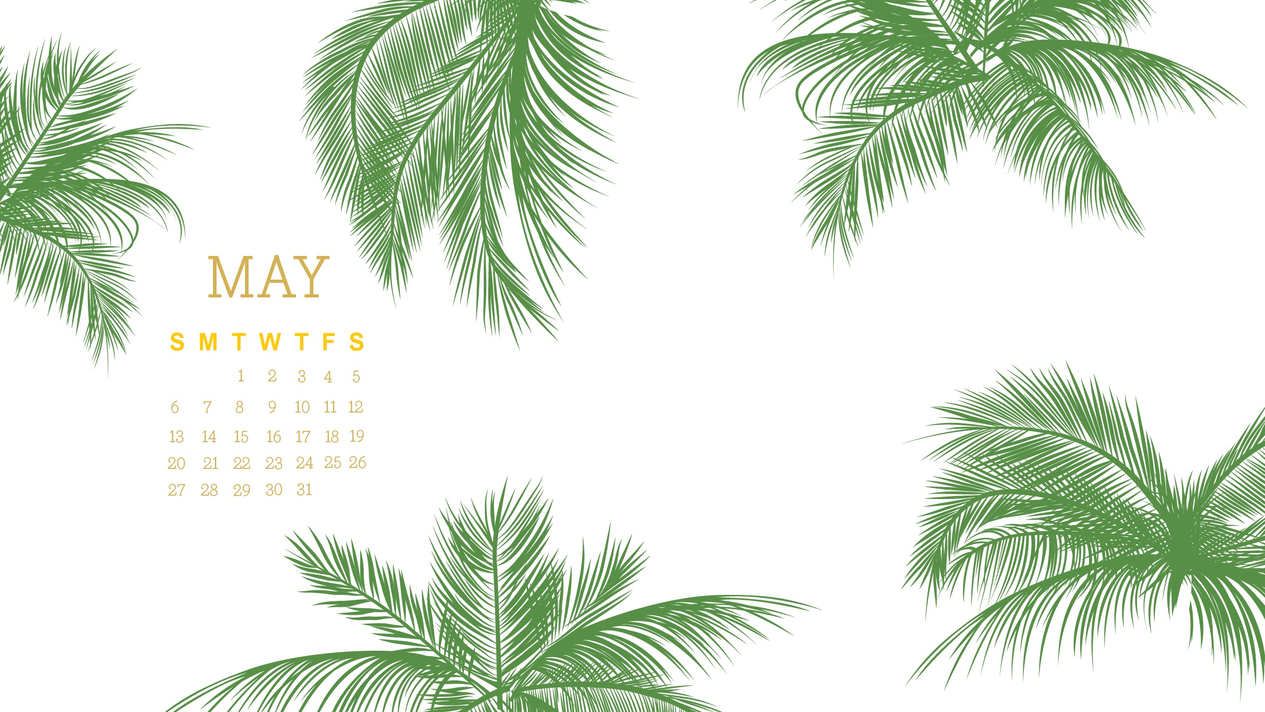 May 2018 Marble Desktop Calendar