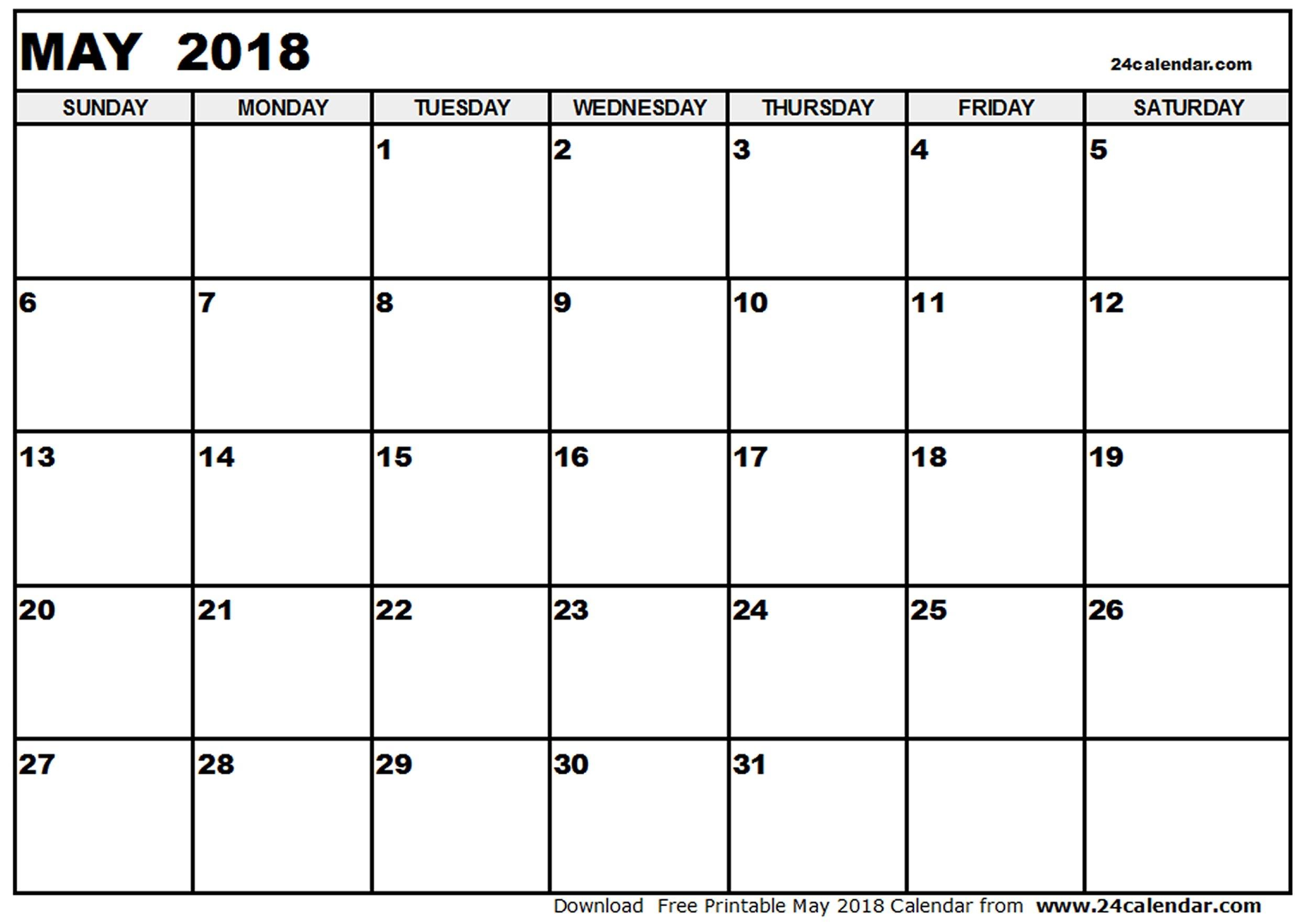 May 2018 PDF Calendar