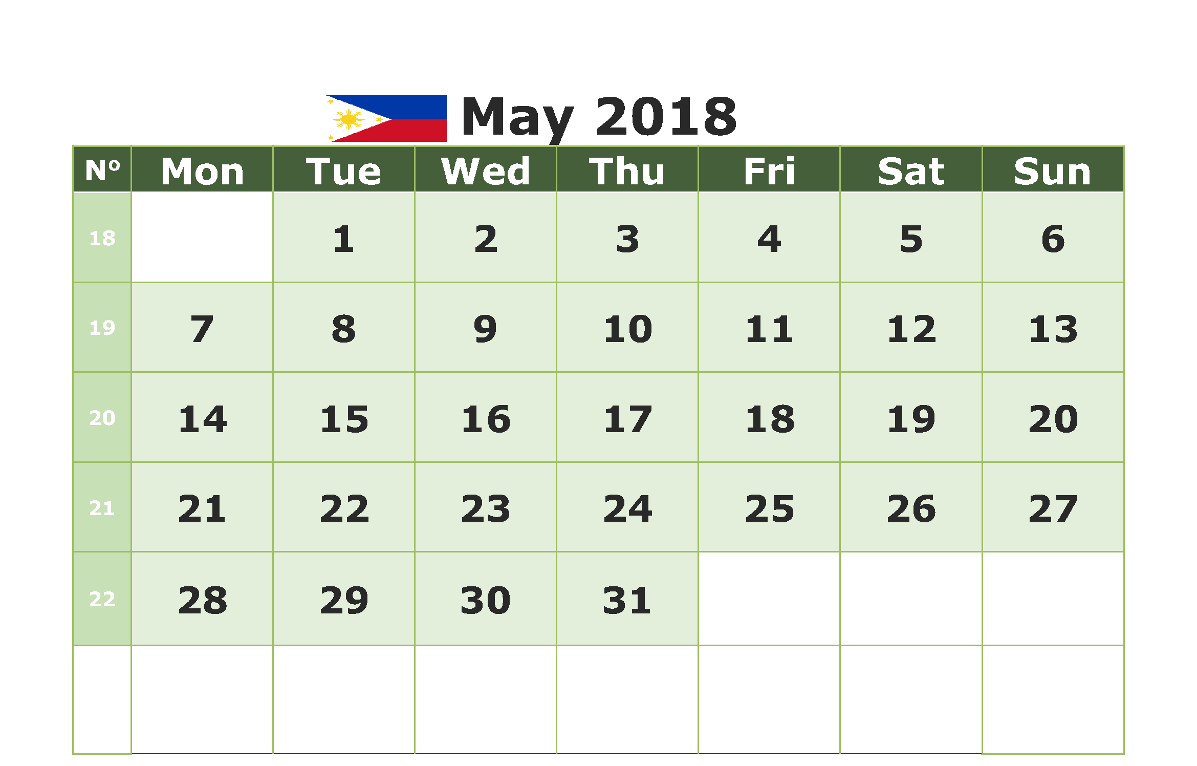 May 2018 Philippines Calendar
