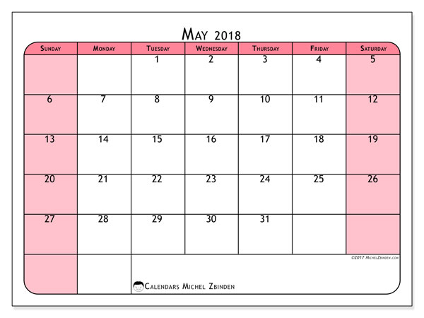May 2018 Pink Calendar
