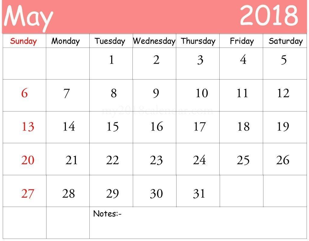 May 2018 Printable Calendar Excel