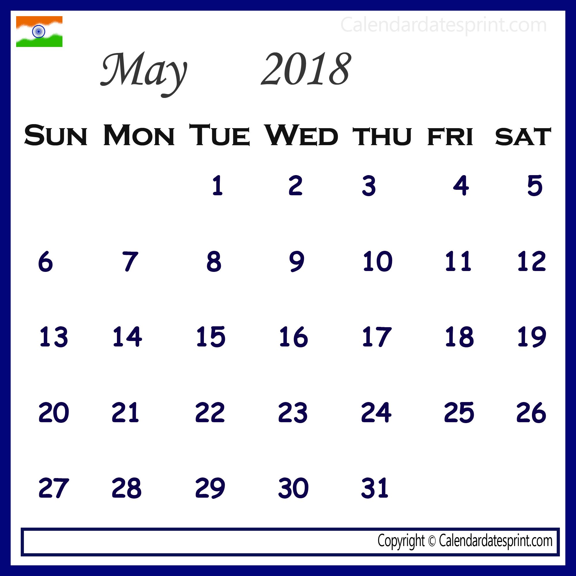 May 2018 Printable Calendar India