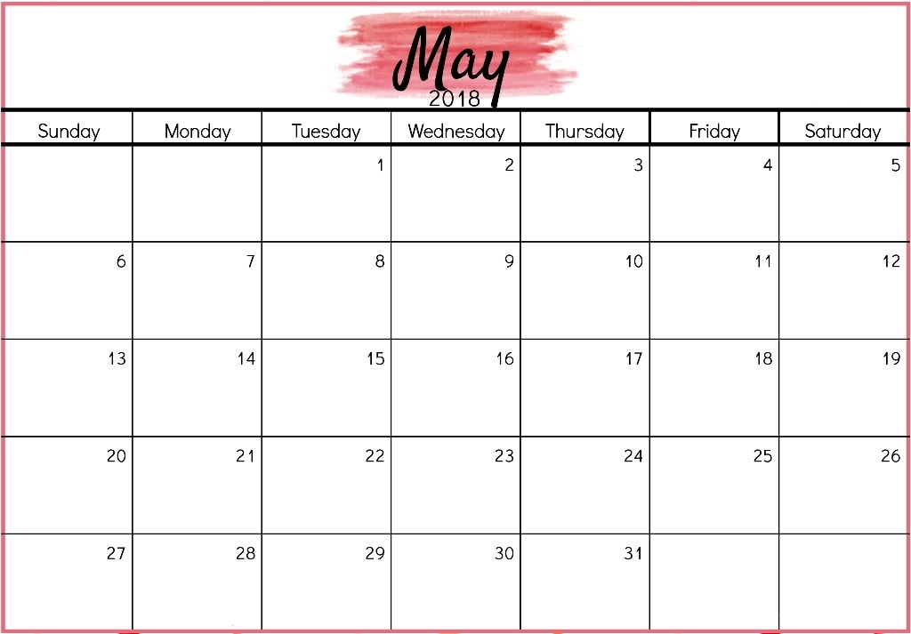 May 2018 Printable Calendar Marathi