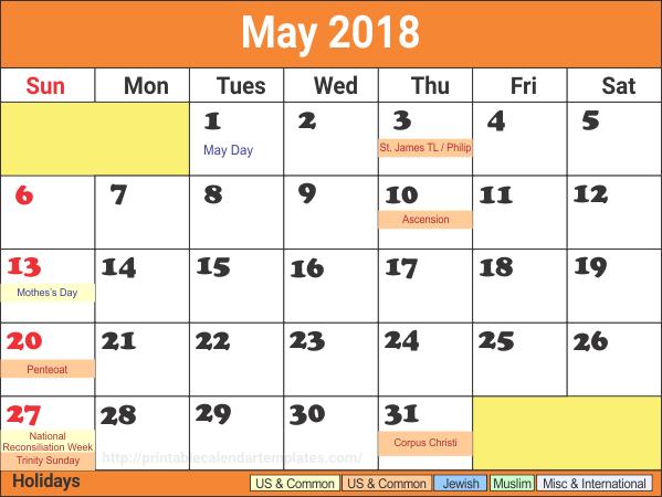 May 2018 Printable Calendar NZ