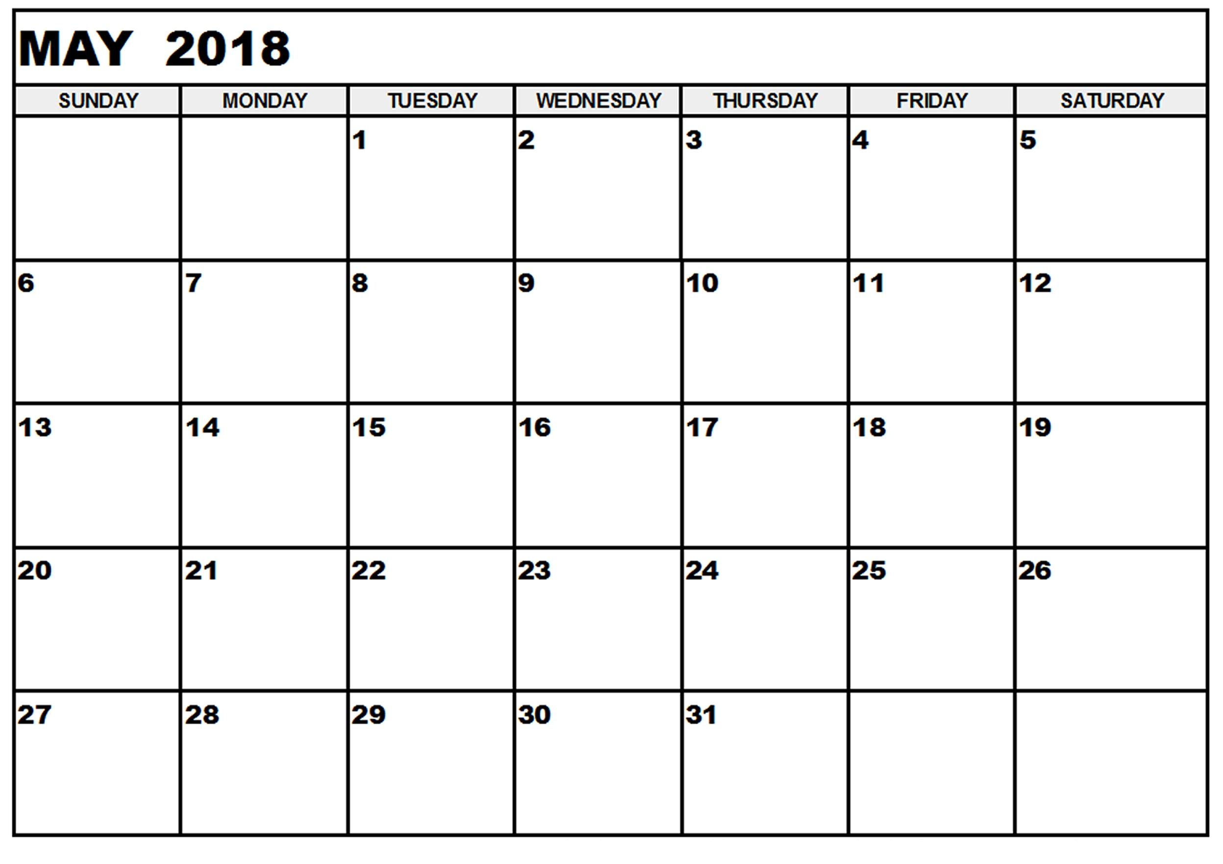 May 2018 Printable Calendar Template