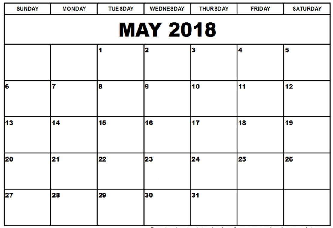 May 2018 Printable Calendar Vertical