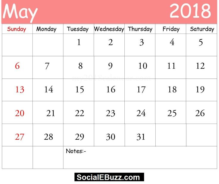 May 2018 Printable Calendar with Holidays