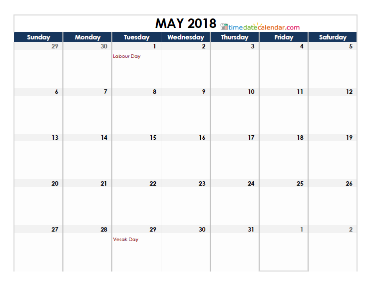 May 2018 Singapore Calendar Holidays
