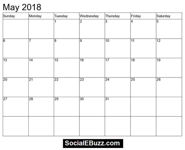 May 2018 Singapore Calendar Template