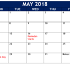 May 2018 Telugu Holidays Calendar