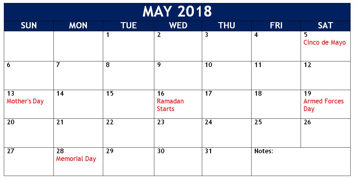 May 2018 Telugu Holidays Calendar