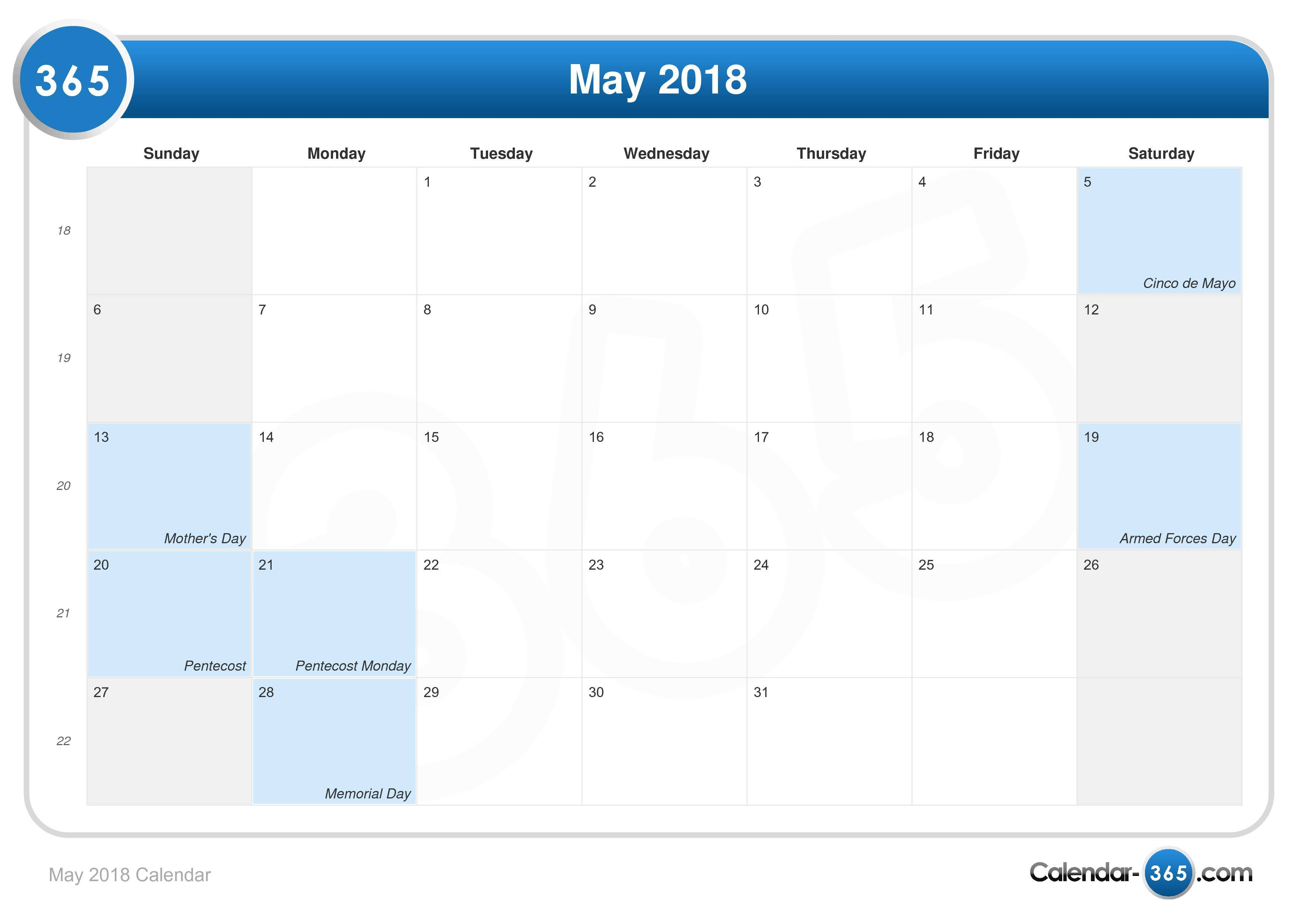 May 2018 USA Calendar Printable Templates