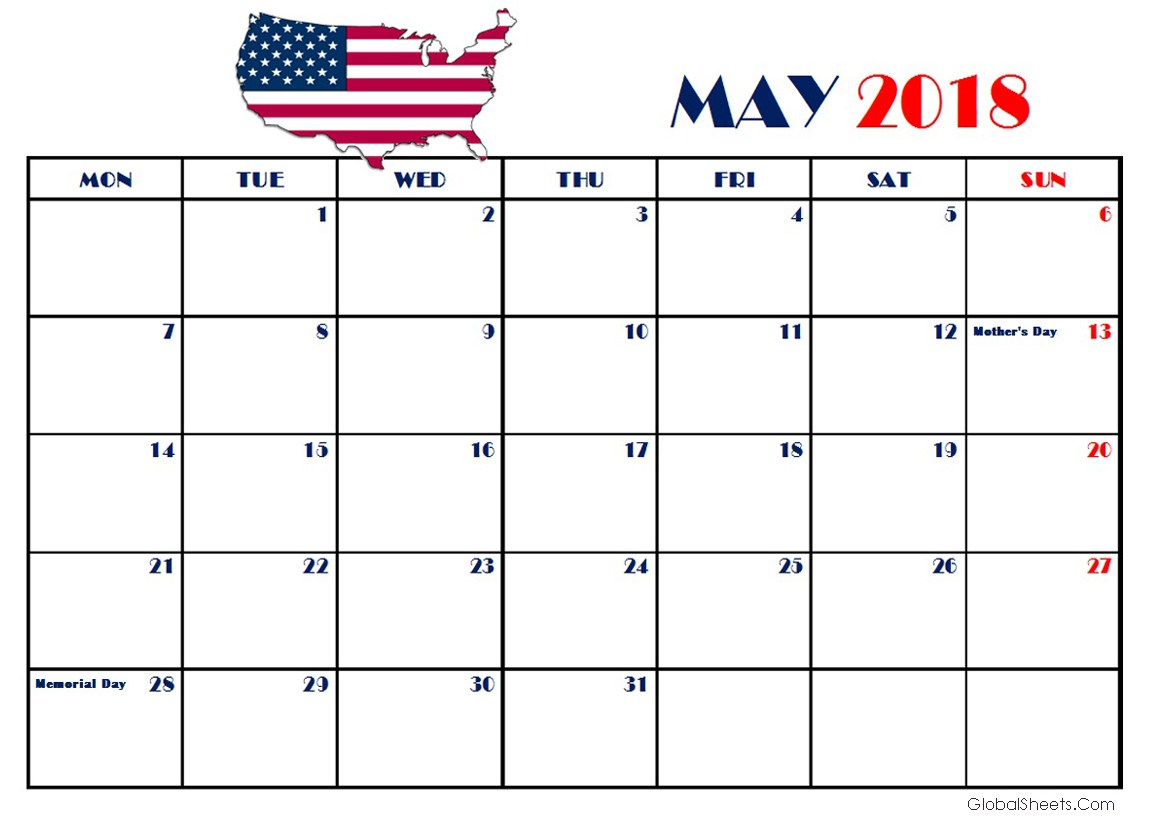 May 2018 USA Calendar With Holidays