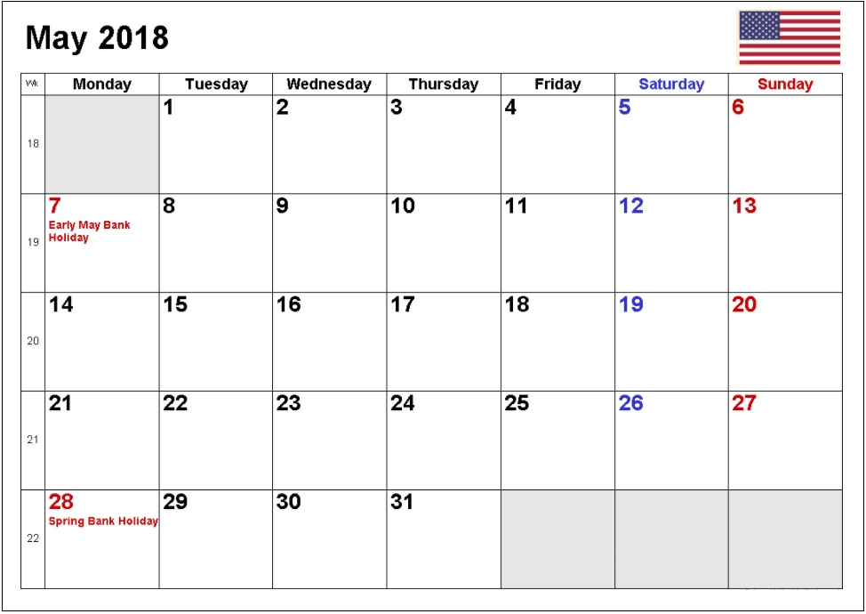 May 2018 USA Holidays Calendar