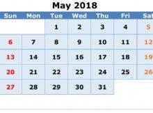 May 2018 Vertical Calendar Template